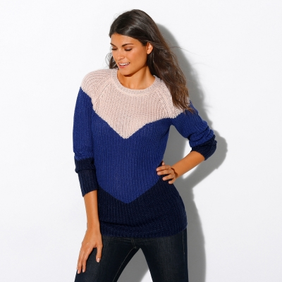 Pull col rond jacquard maille anglaise Beige / bleu: Vue 2