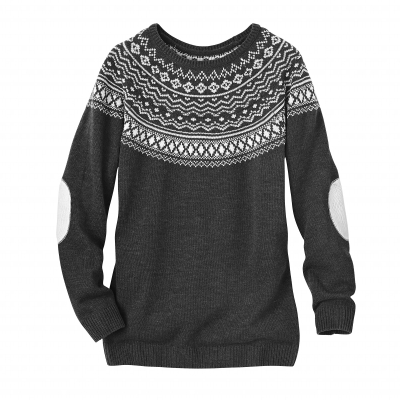 Pull col rond jacquard toucher cachemire  : Vue 2