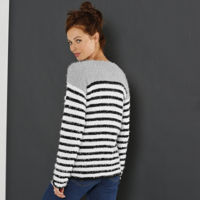 Pull rayé maille douceur  : Vue 2
