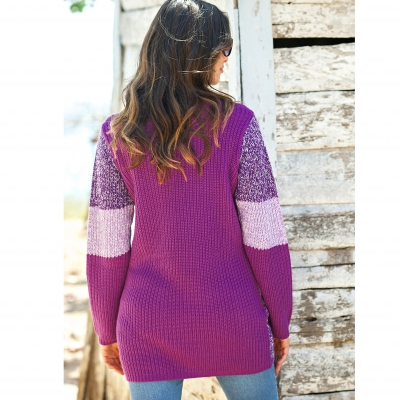 Pull patchwork col rond Prune: Vue 2