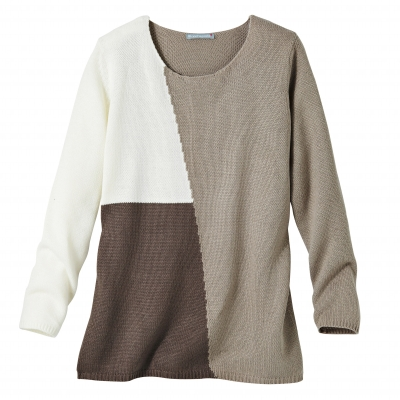 Pull color block Taupe / beige: Vue 2