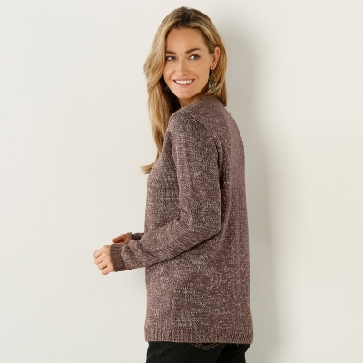 Pull chiné col rond 20% laine Taupe chiné: Vue 2