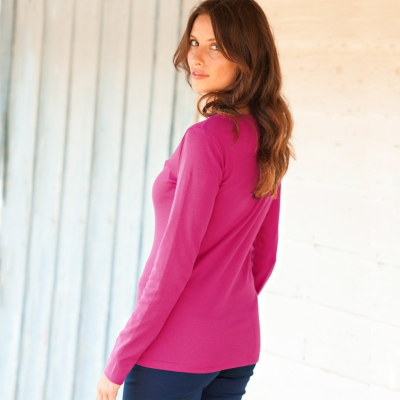Tee-shirt col rond manches longues Framboise: Vue 2