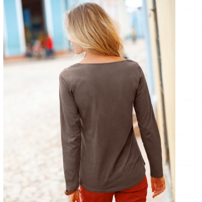 Tee-shirt boutonné manches longues Taupe: Vue 2