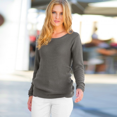 Pull macramé dos Taupe: Vue 2