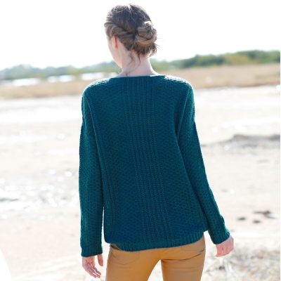 Pull col V maille moelleuse fantaisie Bleu canard: Vue 2