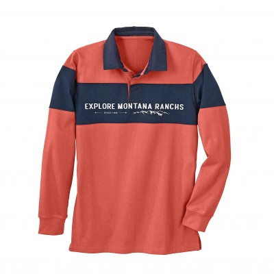 Polo rugby bande contrastante manches longues Terracotta / marine: Vue 2