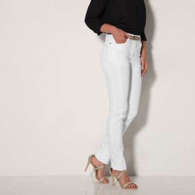 Pantalon stretch coutures affinantes Blanc: Vue 3