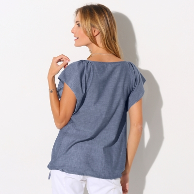 Blouse chambray manches courtes Chambray blue: Vue 3