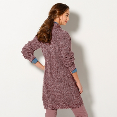 Gilet maille anglaise Taupe chiné: Vue 3