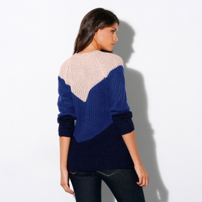 Pull col rond jacquard maille anglaise Beige / bleu: Vue 3