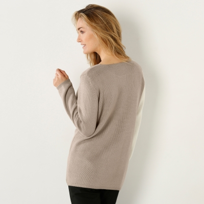 Pull color block Taupe / beige: Vue 3