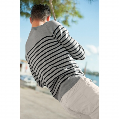 Pull rayé col rond Gris / marine: Vue 3