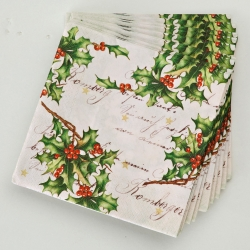 Serviettes papier houx - lot de 20