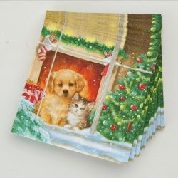 Serviettes papier chiots & chats - lot de 20