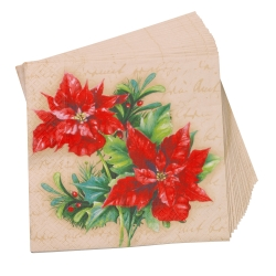 Serviettes papier poinsettia - lot de 20