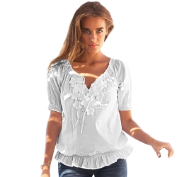 Blouse manches courtes - broderie anglaise