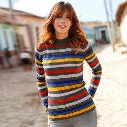Pull maille chaussette multicolore