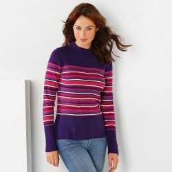 Pull maille chaussette rayé col montant