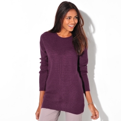 Pull manches longues maille fantaisie
