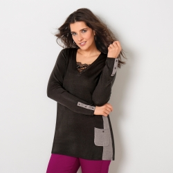 Pull tunique bicolore