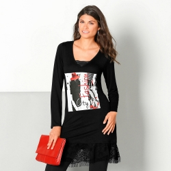 Long tee-shirt photoprint dentelle