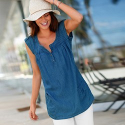 Blouse denim col rond