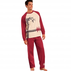 Pyjama homme motif bambou manches longues