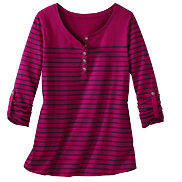 Tee-shirt col tunisien Coloris Framboise