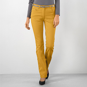 Pantalon Droit Coloris Moutarde