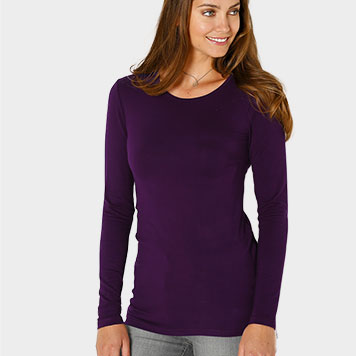 Tee-shirt Maille Stretch Coloris Prune