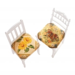 Couvre chaise réversible papillon/tournesol - lot de 2