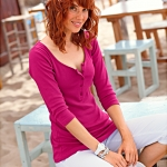 Tee-shirt manches 3/4 col tunisien