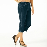 Pantacourt amincissant denim extensible