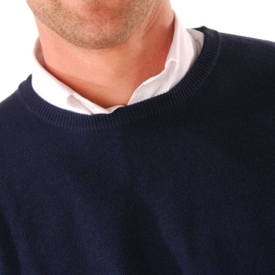 Pull col rond 80% laine  : Vue zoom matière