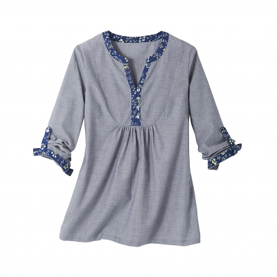 Blouse Chambray col tunisien