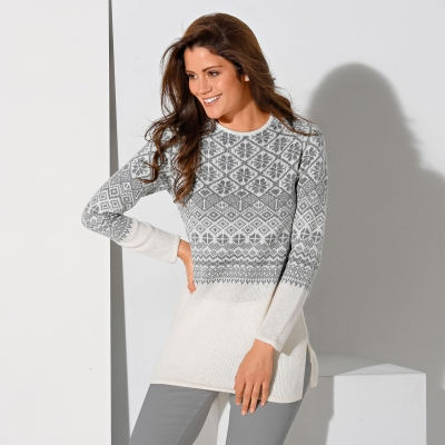 Pull jacquard manches longues - Femme
