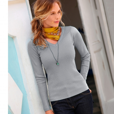Pull maille chaussette col V  : Vue 1