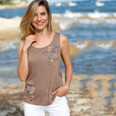 Tee-shirt col V bicolore - Grande taille