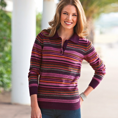 BLANCHE PORTE - Grande taille - Pull col polo ray� laine d