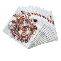 Serviettes papier imprimé couronne - lot de 20