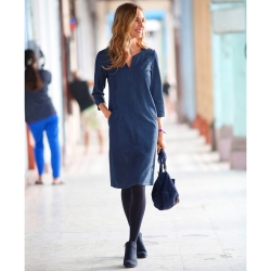 Robe denim col V fantaisie