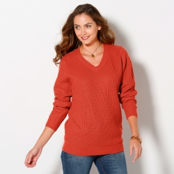Pull col V maille anglaise