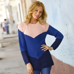 Pull col rond jacquard maille anglaise