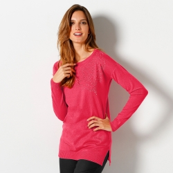 Pull strass col rond
