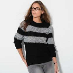 Pull rayé maille bouclette