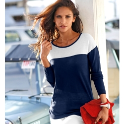 Pull bicolore manches longues