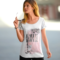 Tee-shirt photoprint manches dentelle