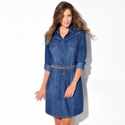 Robe jean manches retroussables