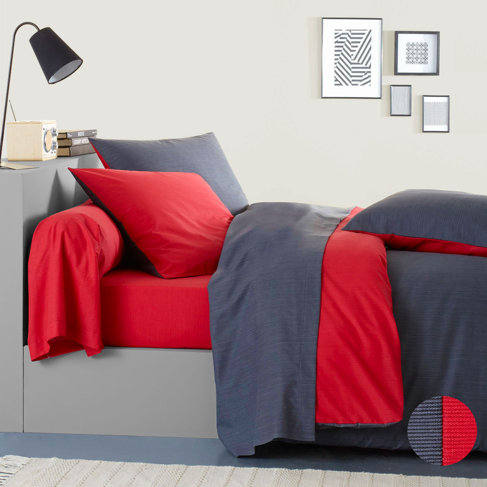 linge de lit ecorce gris rouge viscose coton blancheporte. Black Bedroom Furniture Sets. Home Design Ideas